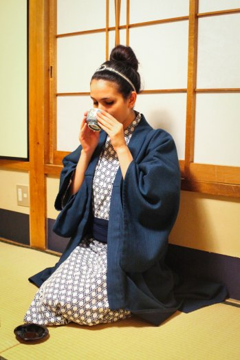 sipping tea at the ryokan in Kyoto